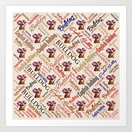 English Bulldog Puppy Word Art Art Print