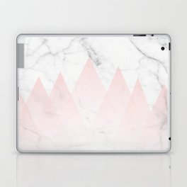 White Marble Background Pink Abstract Triangle Mountains Laptop & iPad Skin