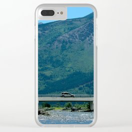"""Car on a Bridge"" Waterton Alberta, Canada Clear iPhone Case"