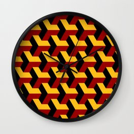 Barcelona 3d geometric pattern in yellow, red and black Wall Clock