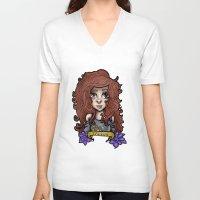 taurus V-neck T-shirts featuring Taurus by Gabriela Ash Illustrations