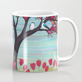 tree swallows in the stained glass tree with tulips and frogs Coffee Mug