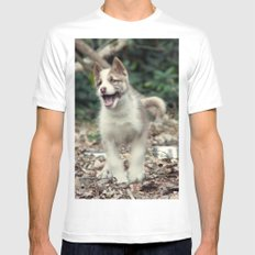 Happy puppy White Mens Fitted Tee MEDIUM