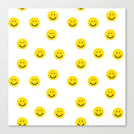 Smiley faces white yellow happy simple smiley pattern smile face kids nursery boys girls decor Canvas Print