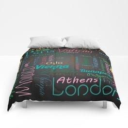European capitals on black Comforters
