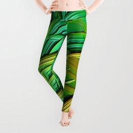 patterns green yellow string Leggings