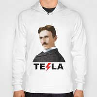 tesla Hoodies featuring Tesla by Vi Sion