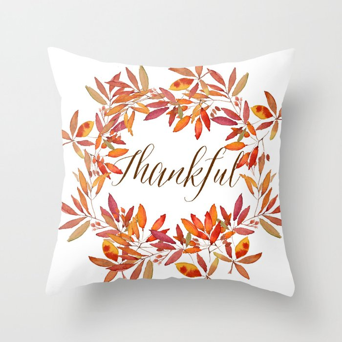 Thankful wreath  Throw Pillow