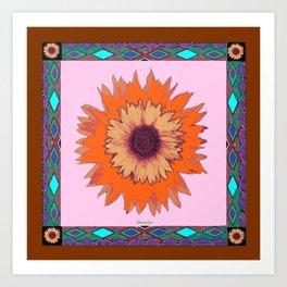 Western Style Chocolate Brown Pink-Orange Sunflower Art Art Print