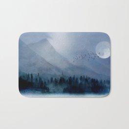 Mountainscape Under The Moonlight Bath Mat