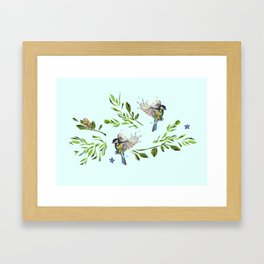 Geometric Nature with Birds Pattern (blue tit and goldcrest) Framed Art Print