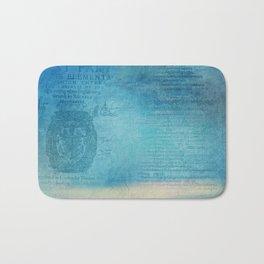 Decorative Blue Writing Texture Vintage Bath Mat