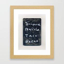 Terrence Malick Taco Bueno Framed Art Print