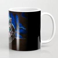 cheshire cat Mugs featuring Cheshire Cat by Janice Wong