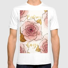 Embrace Change White MEDIUM Mens Fitted Tee