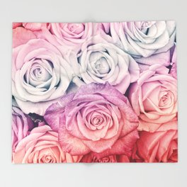 Some people grumble II  Floral rose flowers pink and multicolor Throw Blanket