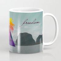 freedom Mugs featuring freedom by mark ashkenazi