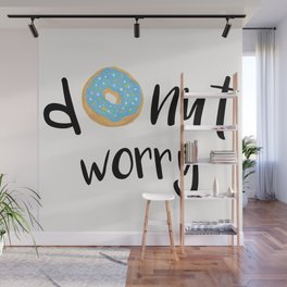 Donut Worry Blue Wall Mural