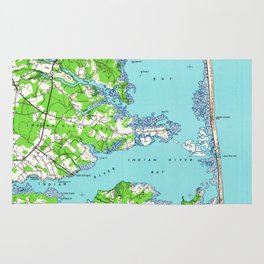Vintage Rehoboth & Bethany Beach DE Map (1938) Rug