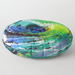 L'œil sur le futur, acrylique / Eye on the futur, Acrylic artwork Floor Pillow