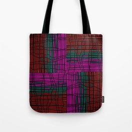 Red, Teal and Pink Vein Line Art on Black Tote Bag