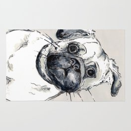 puzzled pug Rug