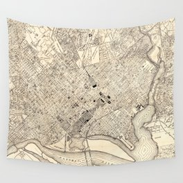 Vintage Map of Washington D.C. (1900) Wall Tapestry
