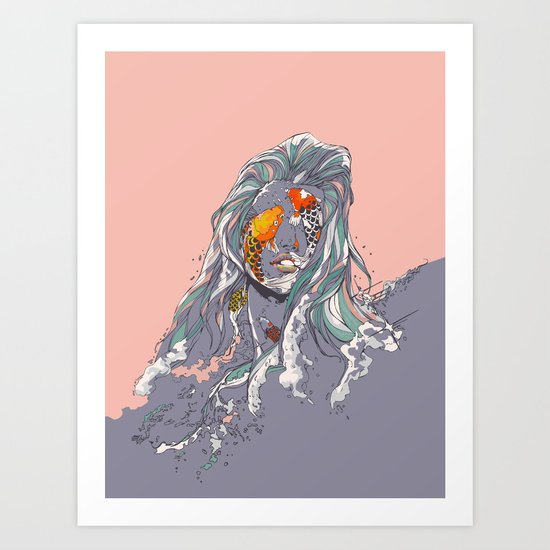 Koi and Raised Art Print