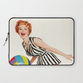 Pin Up Girl and Beach Ball Vintage Art Laptop Sleeve