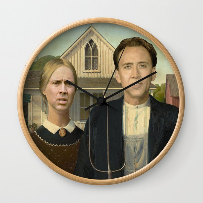 American Gothic Nicholas Cage Face Swap Wall Clock