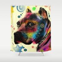 dog Shower Curtains featuring dog by mark ashkenazi