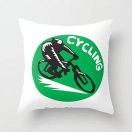 Cyclist Riding Bicycle Cycling Circle Woodcut Throw Pillow
