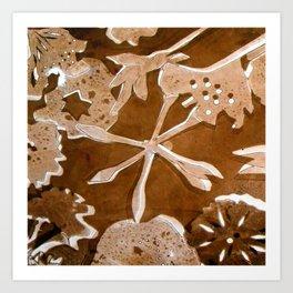 Brown Flower Pattern Art Print