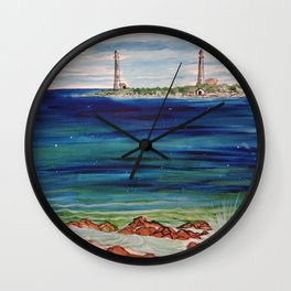Thatcher island lighthouses on a peaceful day Wall Clock