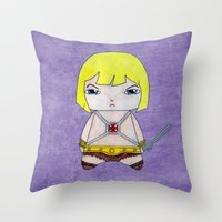 he man Throw Pillows featuring A Boy - He-Man by Christophe Chiozzi