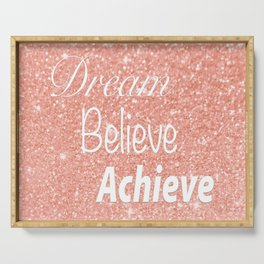 Dream Believe Achieve Rose Gold Serving Tray