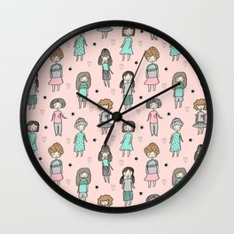Girls illustration little women cute pattern kids rooms gifts Wall Clock