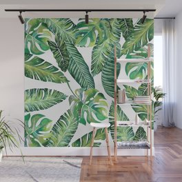 Jungle Leaves, Banana, Monstera #society6 Wall Mural