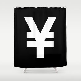 Yen Sign (White & Black) Shower Curtain