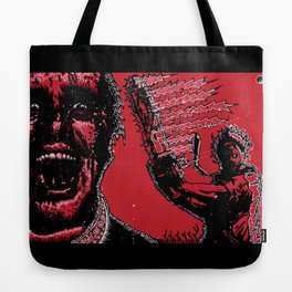 TEAM LEATHERFACE, AMERICAN PSYCHO Tote Bag