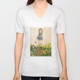 Girl with Daffodils: Don't Forget Me.  Unisex V-Neck