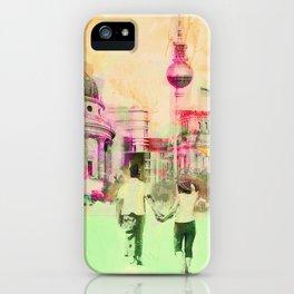 Berlin mixed media urban artwork iPhone Case