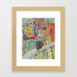 Looking at the town where I would like to live Framed Art Print