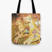 carousel Tote Bags featuring Carousel Horse by Whimsy Romance & Fun