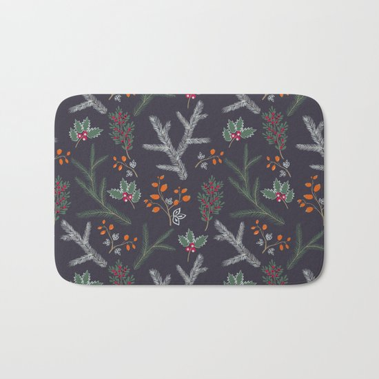 Seamless pattern with floral branches winter christmas hand drawn texture background Bath Mat