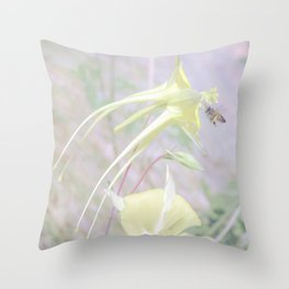 Bee and Columbine Wildflower Art by Murray Bolesta Throw Pillow