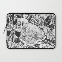 Zebra finch and rose bush ink drawing Laptop Sleeve