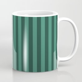 Viridian Green Stripes Pattern Coffee Mug