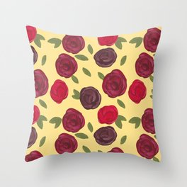 Vintage Roses Floral Pattern Throw Pillow