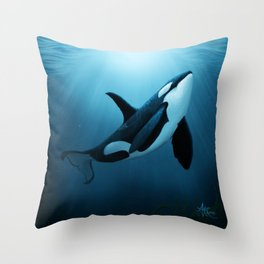 """The Dreamer"" by Amber Marine ~ Orca / Killer Whale Art, (Copyright 2015) Throw Pillow"